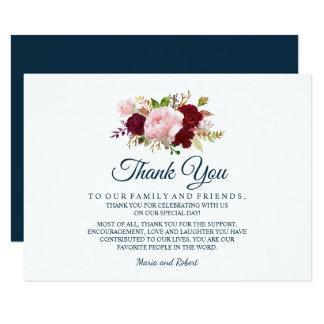 Marsala Floral Marine Blue Wedding Thank You Card