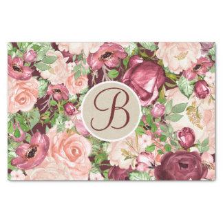 Marsala Floral Rustic Monogram Letter Initial Tissue Paper