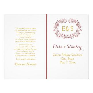 Marsala foliage wreath frame wedding program custom flyer