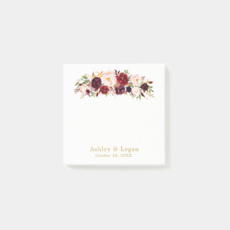 Marsala Gold Elegant Floral Wedding Post-it Notes
