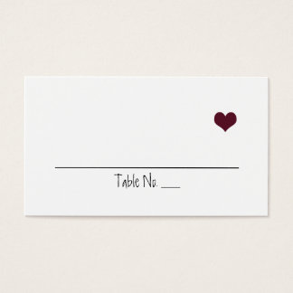 Marsala Heart Wedding Placecards Business Card