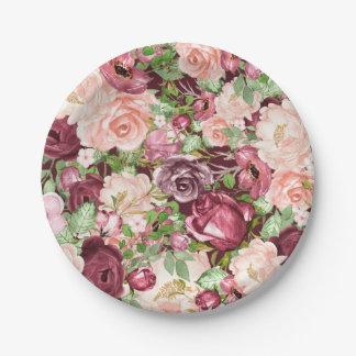 Marsala Maroon Burgundy Rustic Floral Flowers Paper Plate