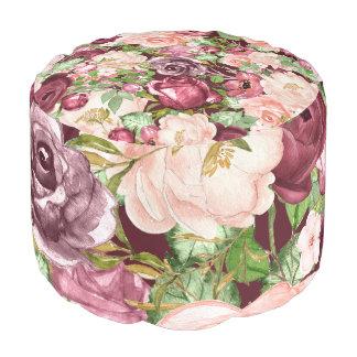 Marsala Maroon Burgundy Rustic Floral Flowers Pouf