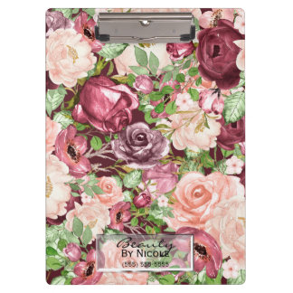 Marsala Maroon Burgundy Rustic Floral Personalized Clipboard
