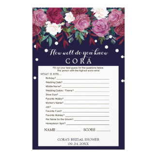 Marsala & Navy How Well Do You Know The Bride Game Flyer