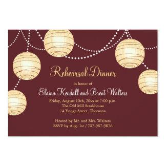 Marsala Party Lanterns Rehearsal Dinner Invitation