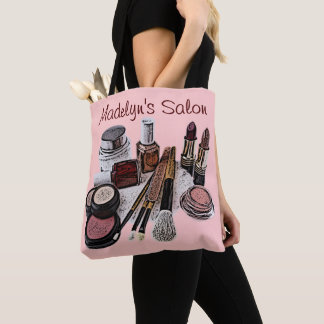 Marsala Pastel Pink Beauty Salon Makeup Products Tote Bag