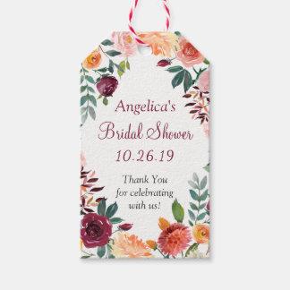 Marsala Pink Orange Flowers Wedding Thank You Gift Gift Tags