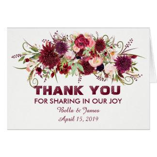 Marsala Red Burgundy Floral Wedding Thank You Card