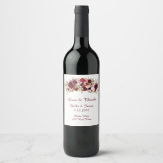 Marsala Red Floral Boho Wedding  Wine Labels