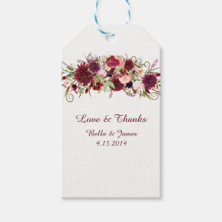 Marsala Red Floral Wedding Favor Gift Tags