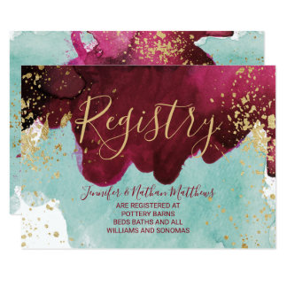 Marsala Red Teal Watercolor Gold Gift Registry Card