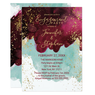 Marsala Red Teal Watercolor Gold Splash Engagement Card