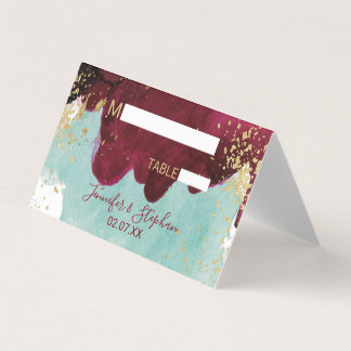 Marsala Red Teal Watercolor Gold Splash Place Card
