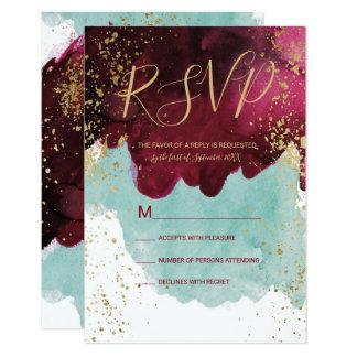 Marsala Red Teal Watercolor Gold Splash RSVP Card