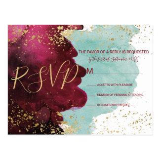 Marsala Red Teal Watercolor Gold Splash RSVPs Postcard