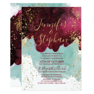 Marsala Red Teal Watercolor Gold Splash Wedding Card