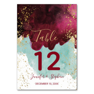 Marsala Red Teal Watercolor Gold Table Numbers
