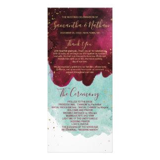 Marsala Red Teal Watercolor Gold Wedding Programs