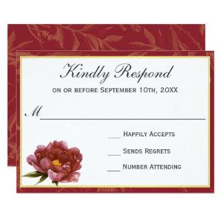 Marsala Splendor Watercolor Floral RSVP Card