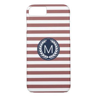 Marsala Stripe with Navy Laurel Wreath Monogram iPhone 7 Case