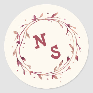 Marsala Watercolor Initial Monogram Stickers