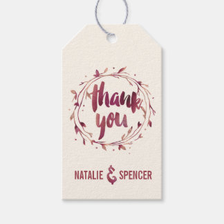 Marsala Watercolor Thank You Favor Tags Pack Of Gift Tags