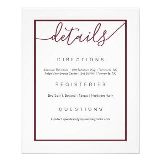 Marsala Wedding Details Flyer, Wine Accents Flyer