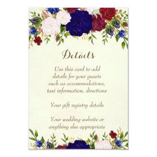 marsala wine navy wedding details information card