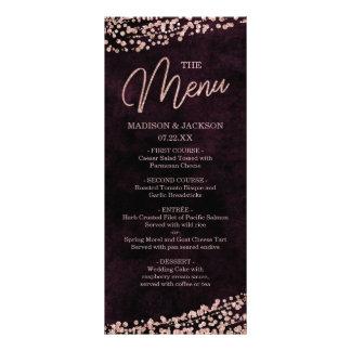 Marsala Wine & Rose Gold Confetti Wedding Menu