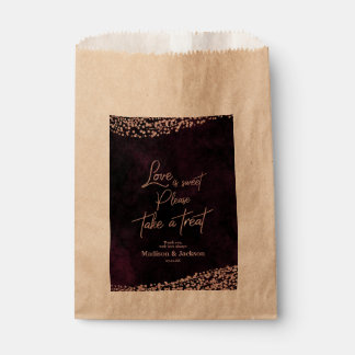Marsala Wine & Rose Gold Wedding Love is Sweet Favour Bag