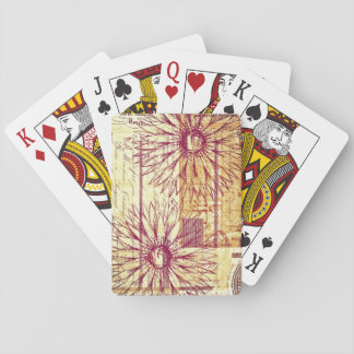 Marsala Wine Vintage French Typography Flowers Poker Deck