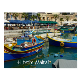 Marsaxlokk painted boats postcard