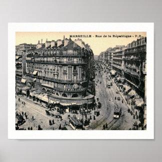 Marseille, France Rue de la Republique, Vintage Poster