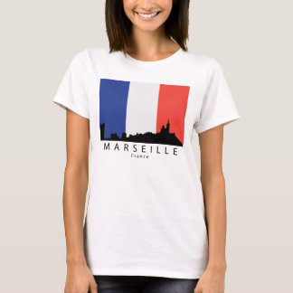Marseille France Skyline French Flag T-Shirt