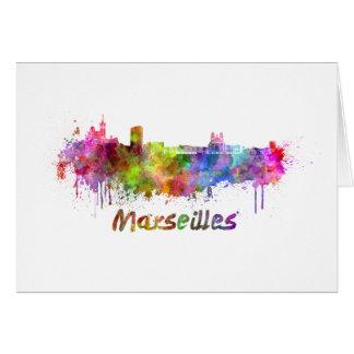 Marseille skyline in watercolor card
