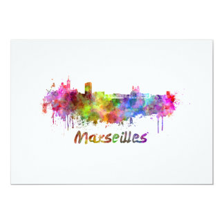 Marseille skyline in watercolor card
