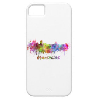 Marseille skyline in watercolor iPhone 5 cases