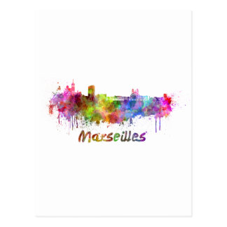 Marseille skyline in watercolor postcard