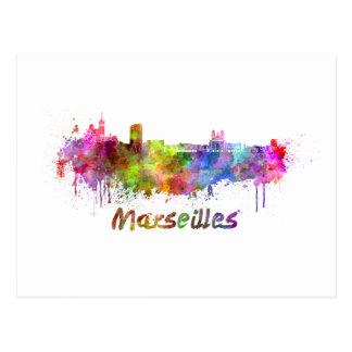 Marseille skyline in watercolor postcard