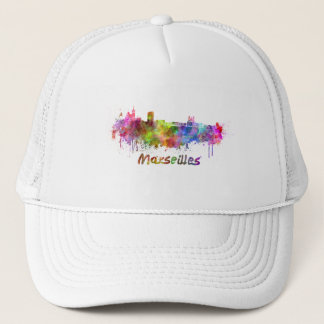 Marseille skyline in watercolor trucker hat