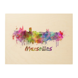 Marseille skyline in watercolor wood canvas