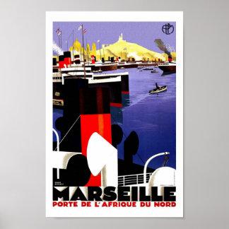Marseille Vintage Travel Poster