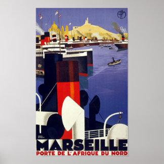 Marseille Vintage Travel Poster Restored
