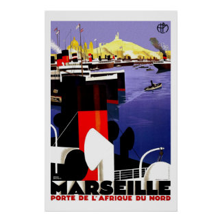 Marseilles, France Vintage Travel Poster