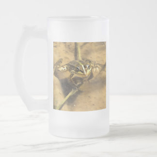 Marsh Frog Frosted Glass Beer Mug