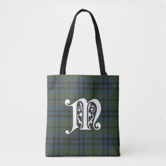 Marshall Clan Tartan Monogram Tote Bag