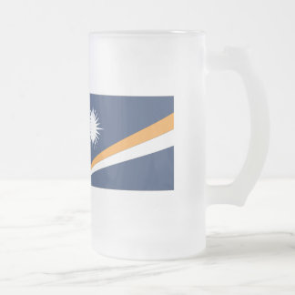 Marshall Islands Flag Frosted Glass Beer Mug