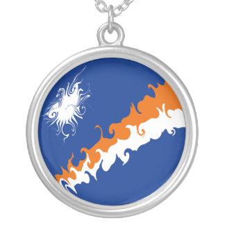 Marshall Islands Gnarly Flag Round Pendant Necklace