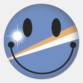 Marshall Islands Smiley Classic Round Sticker